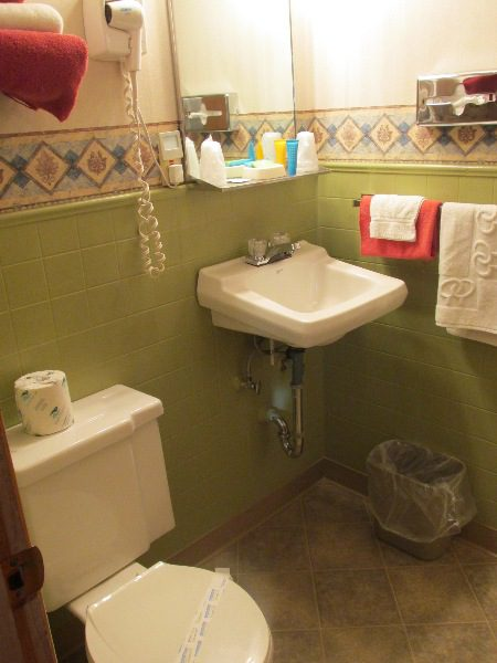 Bathroom with toilet, vanity, towels, and hair dryer